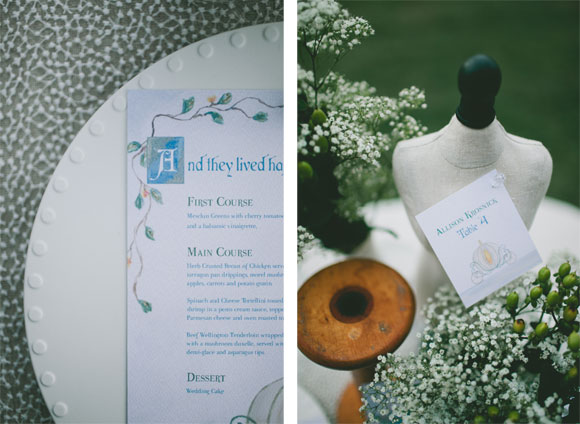 Cinderella menu & escort card by Hand-Painted Weddings. Photos & Styling by Krista Leigh Hurst.