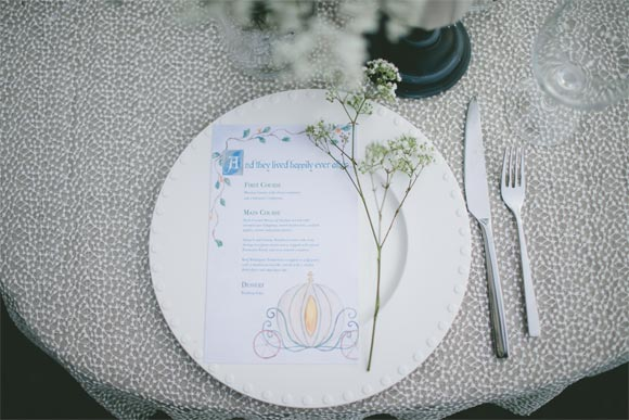 Cinderella menu by Hand-Painted Weddings. Photos & Styling by Krista Leigh Hurst.