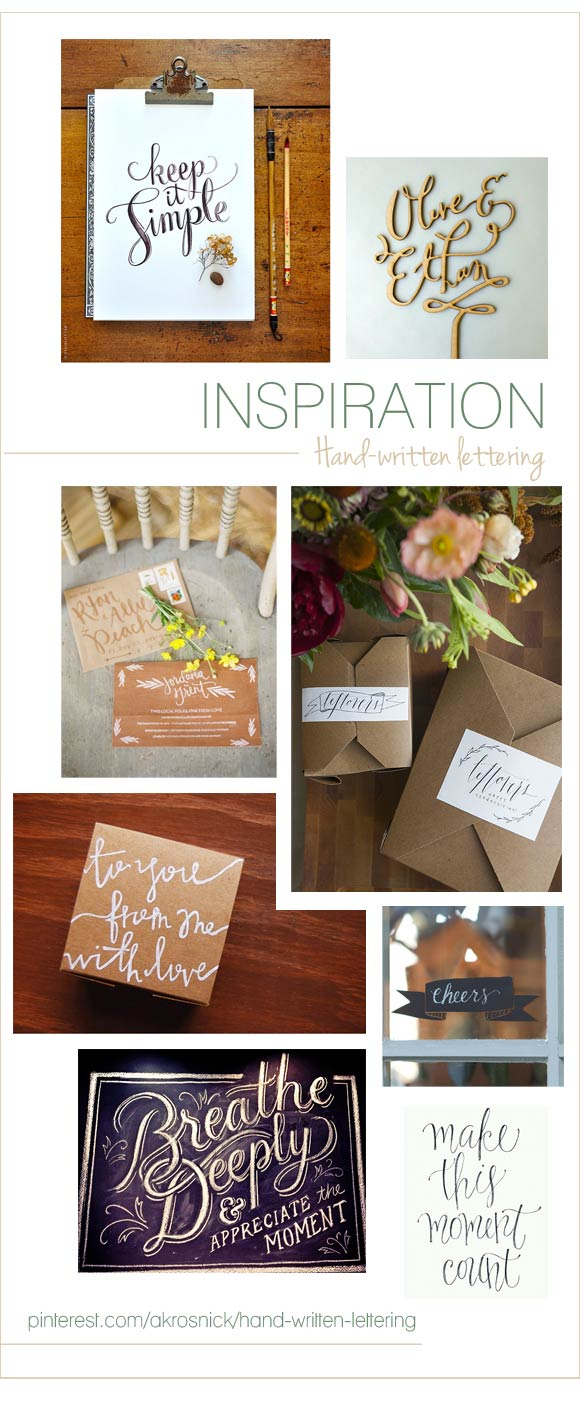 Inspiration - Hand-Written Lettering curated by Hand-Painted Weddings