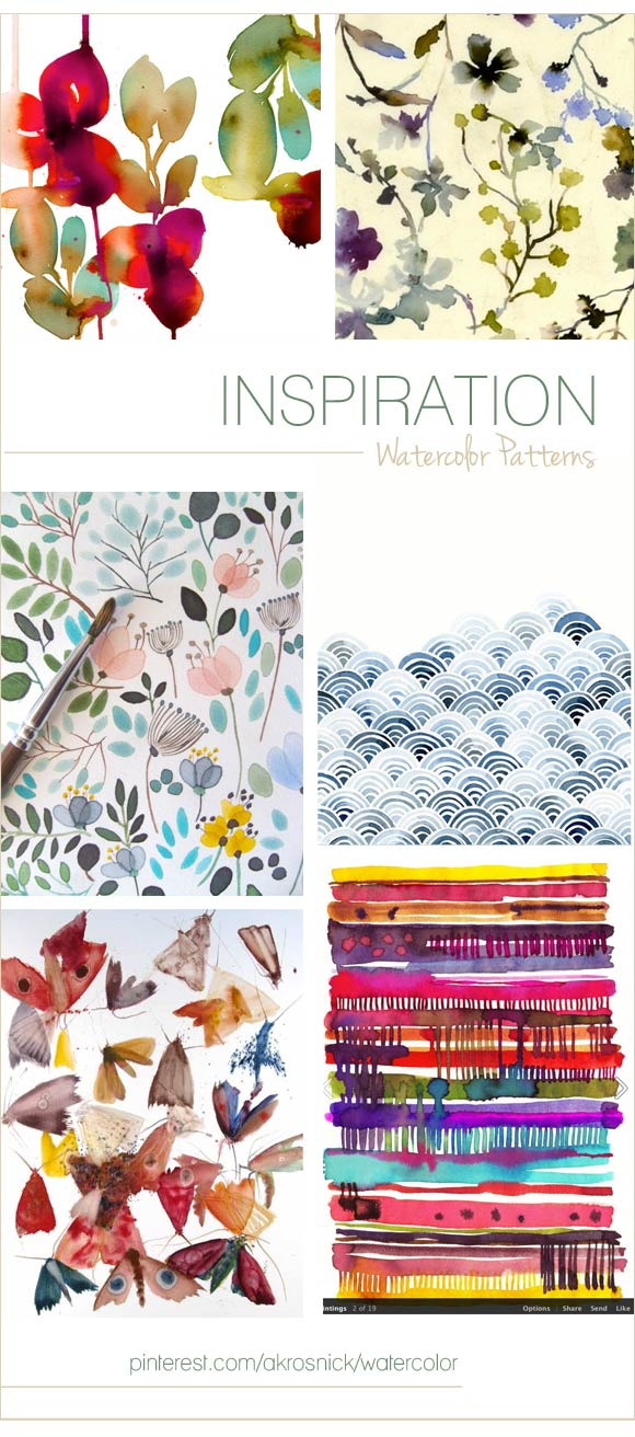 Watercolor Pattern Inspiration curated by Hand-Painted Weddings