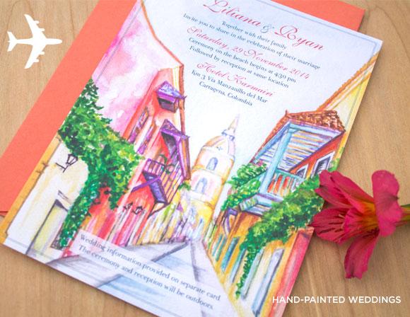 Destination Wedding Invitation to Cartagena, Columbia