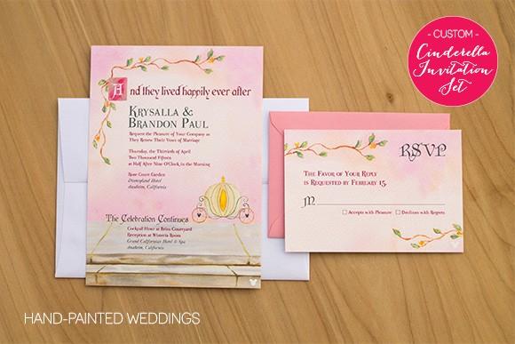 Custom Pink Cinderella invitation set by Hand-Painted Weddings