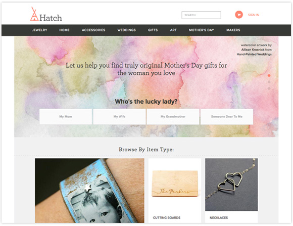 Featured Watercolor Art in Hatch.co Mother's Day Campaign