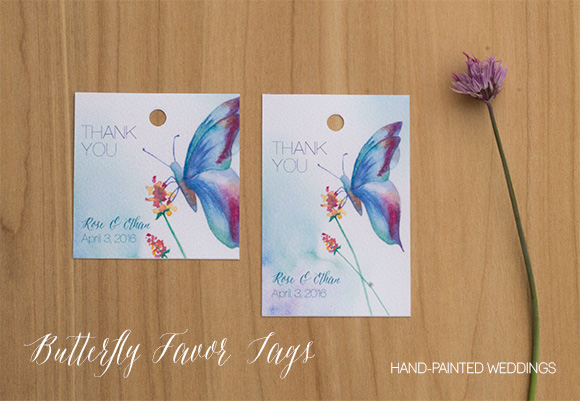 Butterfly Favor tags. Butterfly gift tags by Hand-Painted Weddings