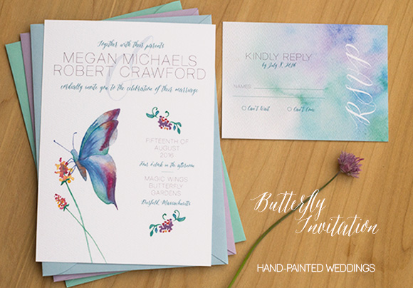 Butterfly wedding invitation by Hand-Painted Weddings