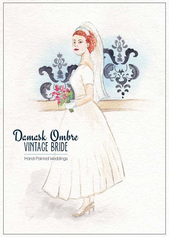Damask Ombre Vintage Bride by Hand-Painted Weddings