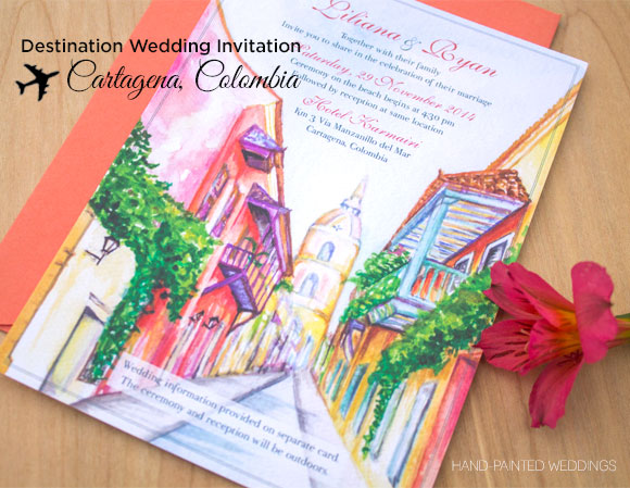 Cartagena Wedding Invitation by Hand-Painted Weddings