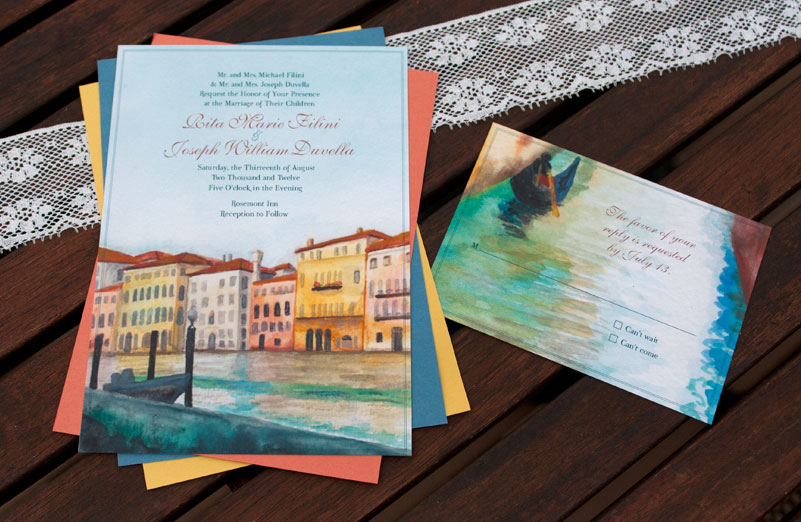 Hand-Painted Invitation: Venice Canal