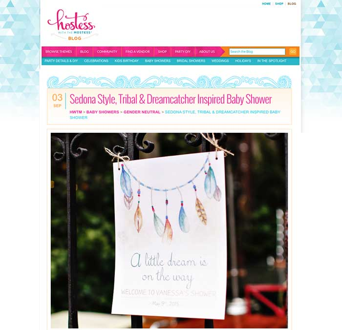 Dreamcatcher Bridal Shower featured on Hostess with the Mostest