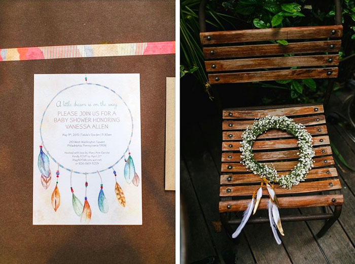 Dreamcatcher Bridal shower. Invitation by Hand-Painted Weddings. Florals by Papertini. Photos by Love Me Do Photography. Planning by Truly You Events.