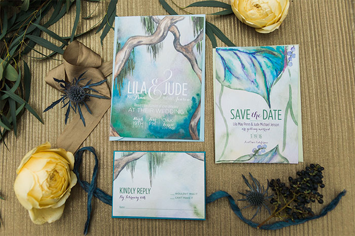 Whimsical wedding invitation. Dreamy wedding invitation by Hand-Painted Weddings. Photo by Katie Ricard
