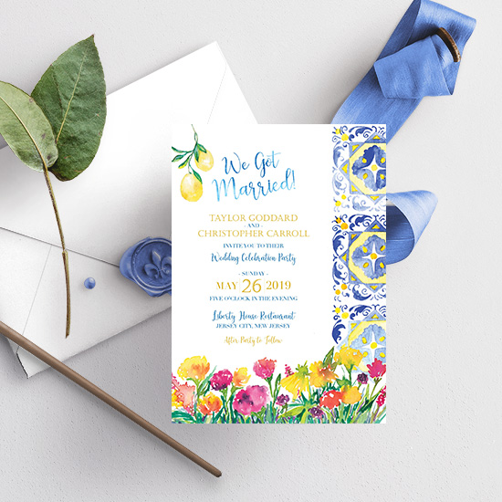 Capri Tile Inspired Watercolor Wedding Invitation