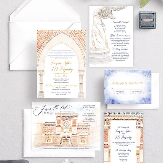 PAFA Art Gallery Watercolor Wedding Invitation