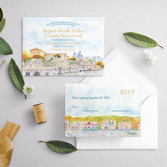 Philadelphia Boathouse Row Watercolor Wedding Invitation