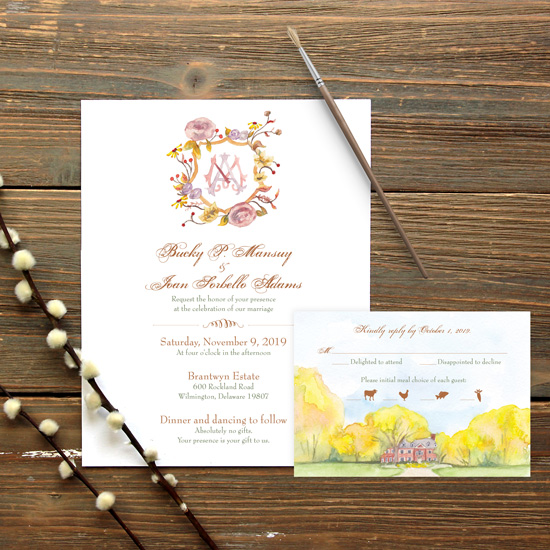 Autumn Crest Watercolor Wedding Invitation