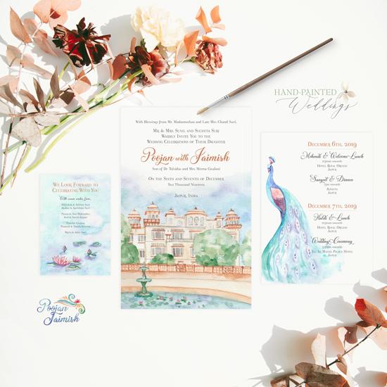 Taj Jai Mahal Palace wedding in India invitation