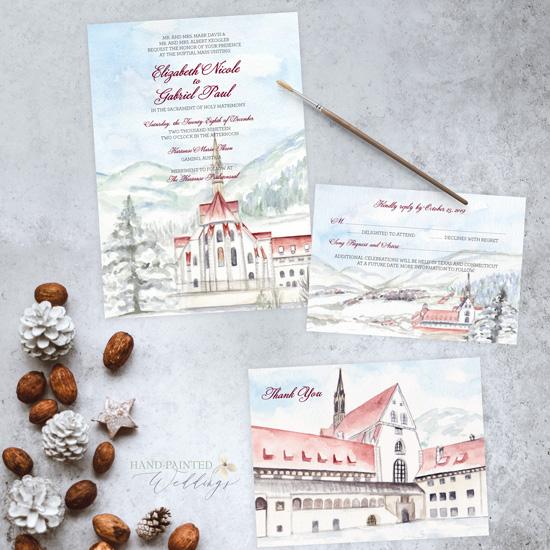 Kartause Pralatensaal Austria Wedding Invitation