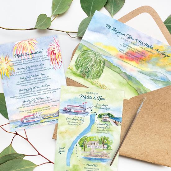 Lakeside Watercolor Wedding Invitation