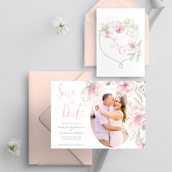 Blush watercolor floral save-the-date and crest