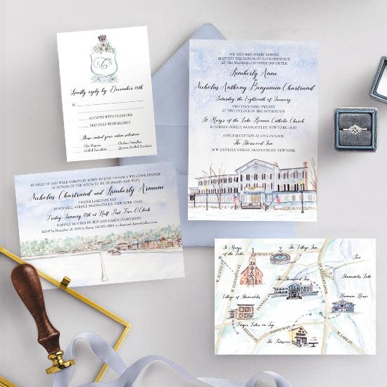 Sherwood Inn Winter Wedding Invitation Set
