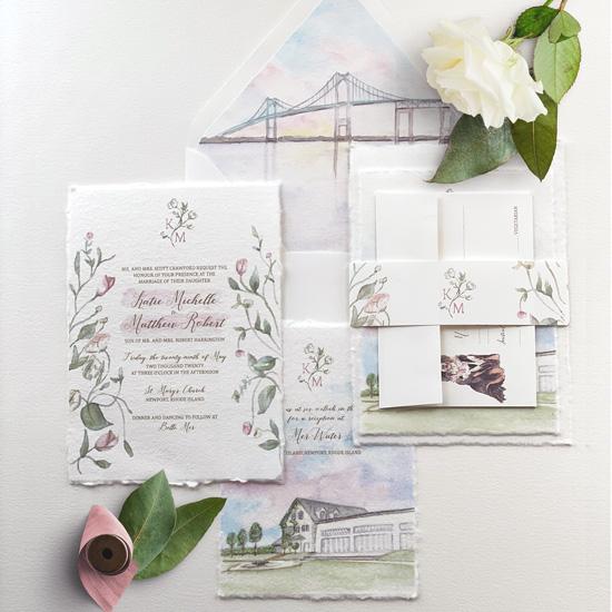 Handmade Paper Watercolor Wedding Invitation Suite at Belle Mer