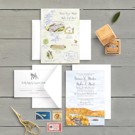 Fall Wedding Invitation at The Greystone Inn