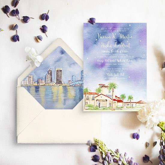 Florida Yacht Club in Jacksonville, Florida Wedding Invitation