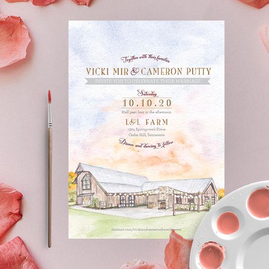 L and L Farm in Nashville Watercolor Wedding Invitation