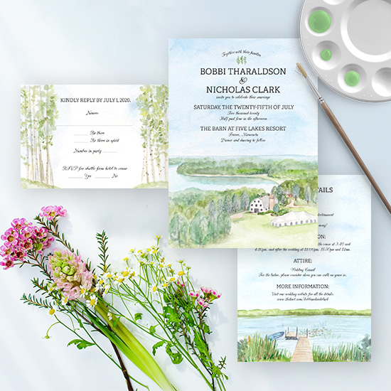 The Barn at Five Lakes Resort in Minnesota Summer Wedding Invitation