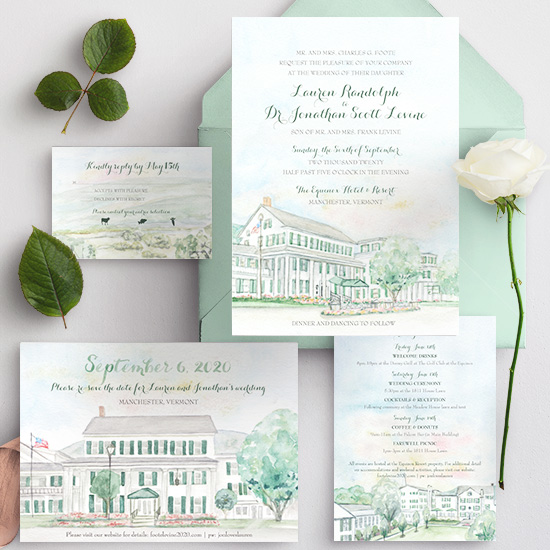 Watercolor venue invitation of the Equinox Hotel and Resort in the mountains of Vermont