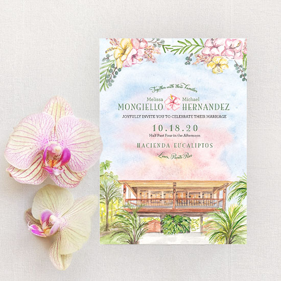 Hacienda Eucaliptos Wedding in Puerto Rico Invitation