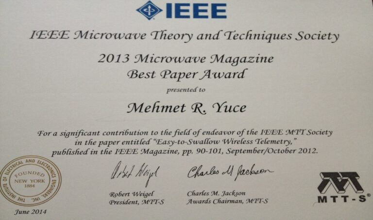 2014-Best Journal Paper Award from the IEEE Microwave Theory and Techniques Society (MTT-S)