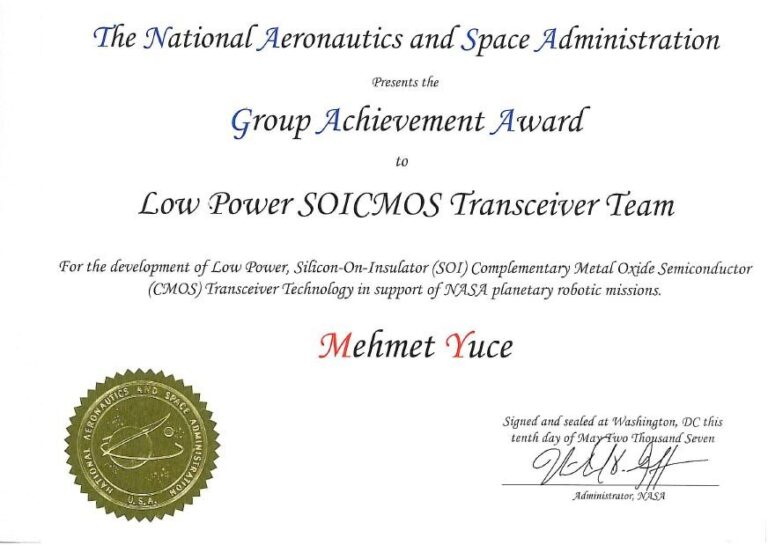 NASA group achievement award for developing SOI transceiver in support of NASA planetary robotic missions
