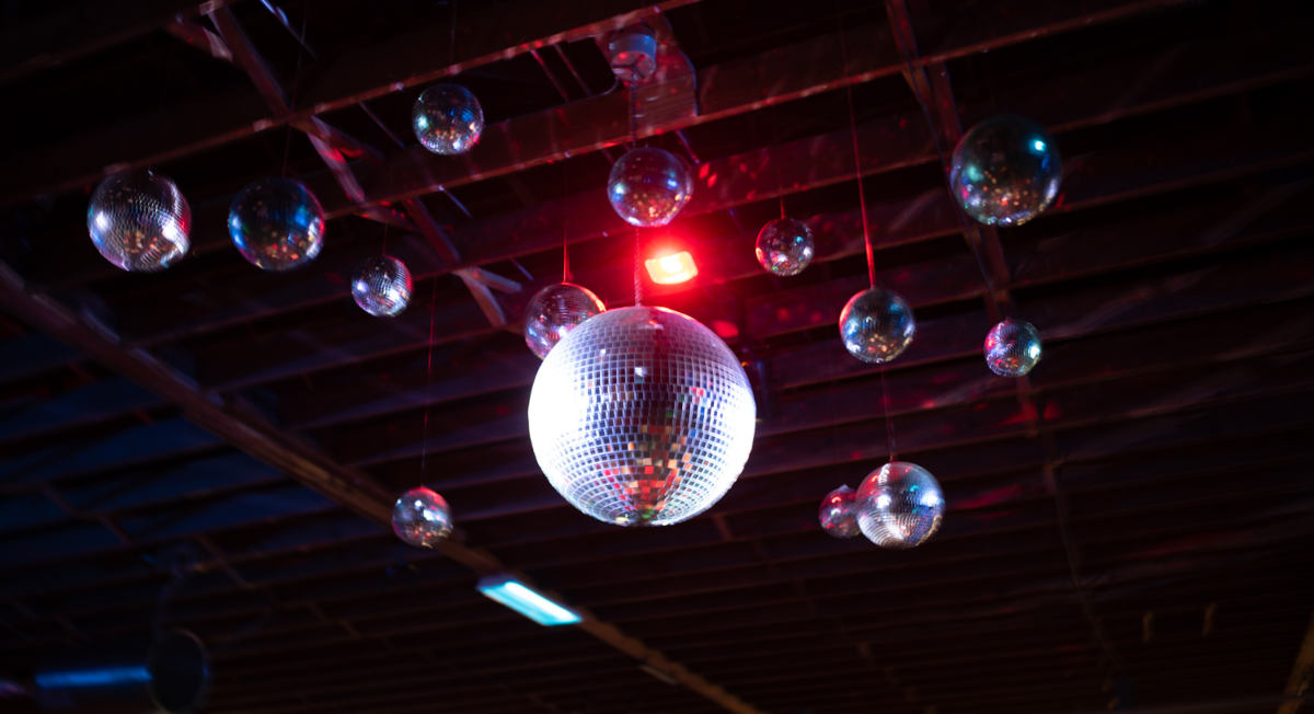 image of the overhead discoballs