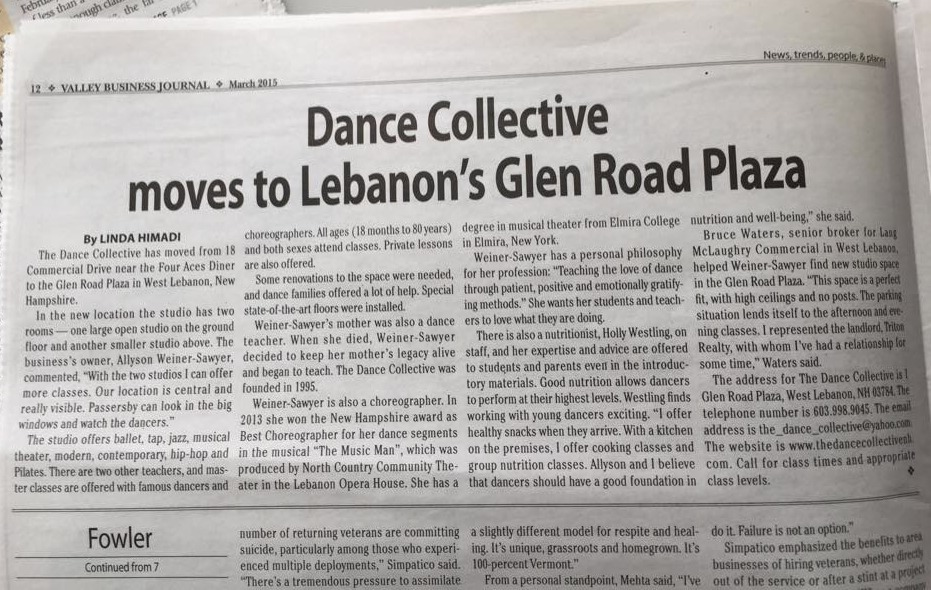 The Dance Collective Move in Valley Business Journal!