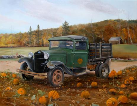 Pumpkin Harvest - Oil on Canvas by William C. Turner