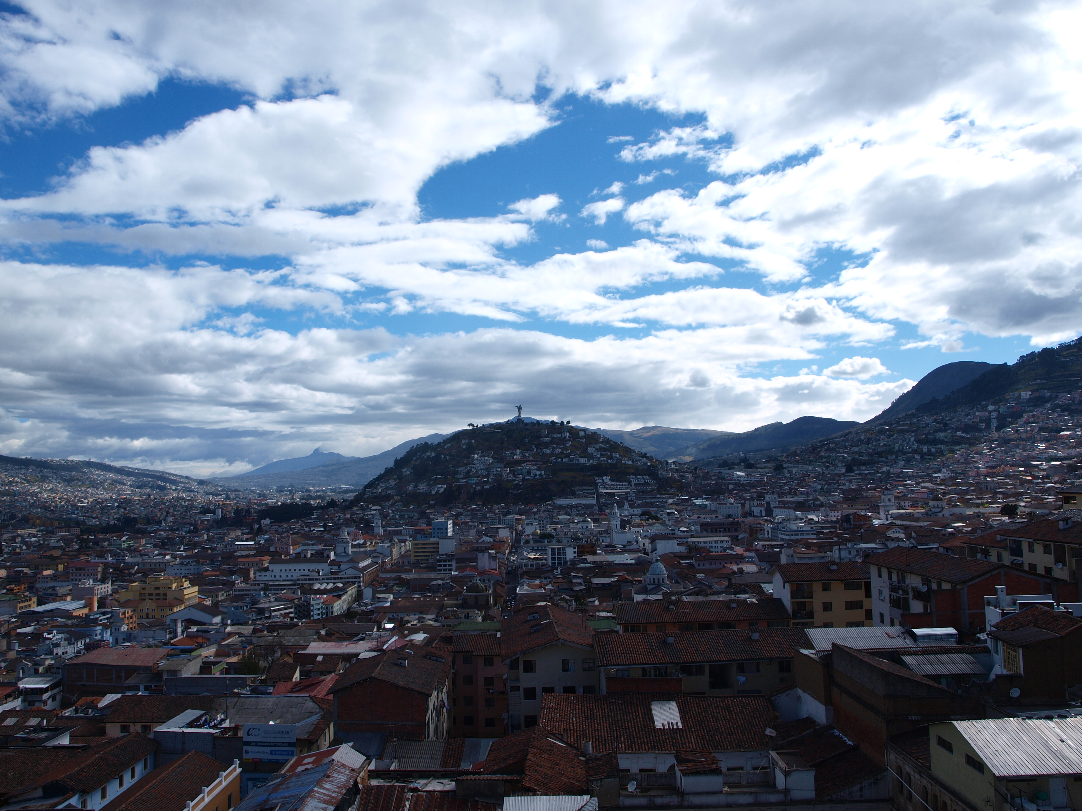 view of el panecillo from the basilica