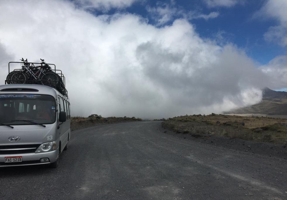 Latin Adventure Tours bus to Cotopaxi Volcano, Ecuador