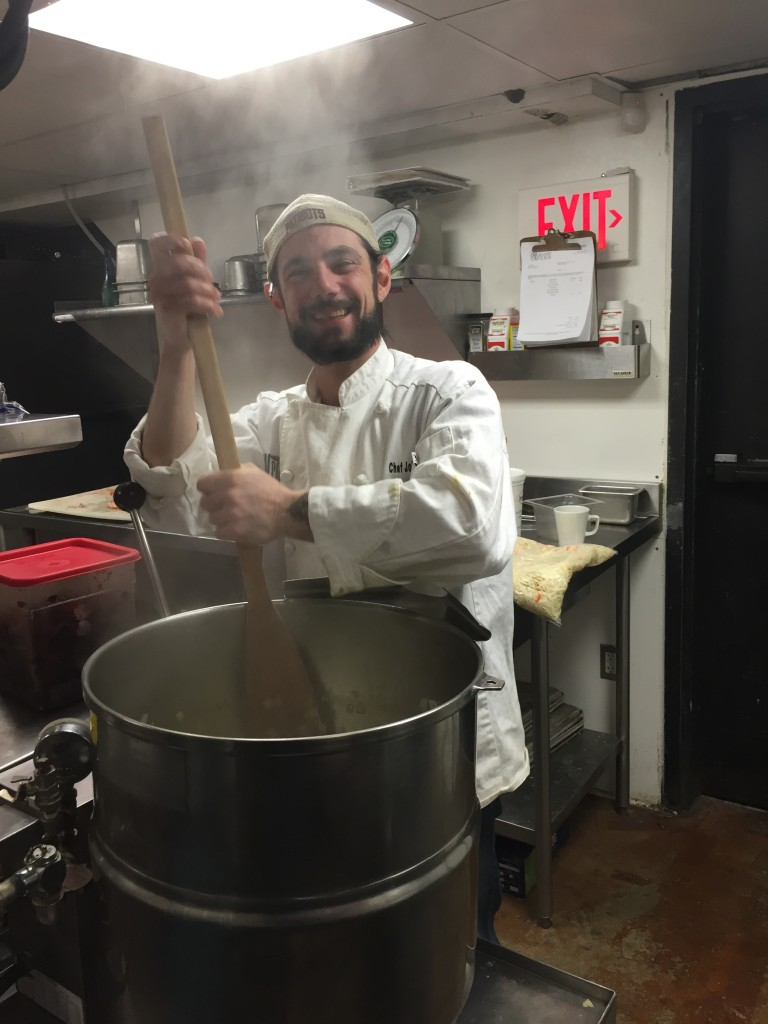 Chef John Radcliffe preparing New England Clam Chowder for Central Wharf Co. in Boston