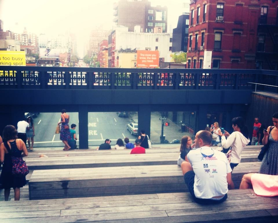 People lounging at the High Line, New York City