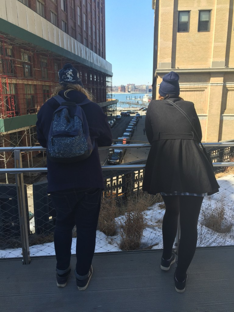 tourists overlooking the Hudson River from the High Line in New York City