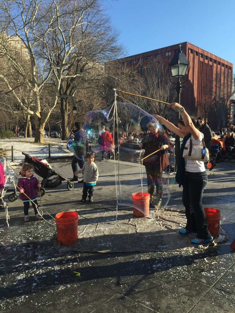 bubbles in Washington Square Park, New York City