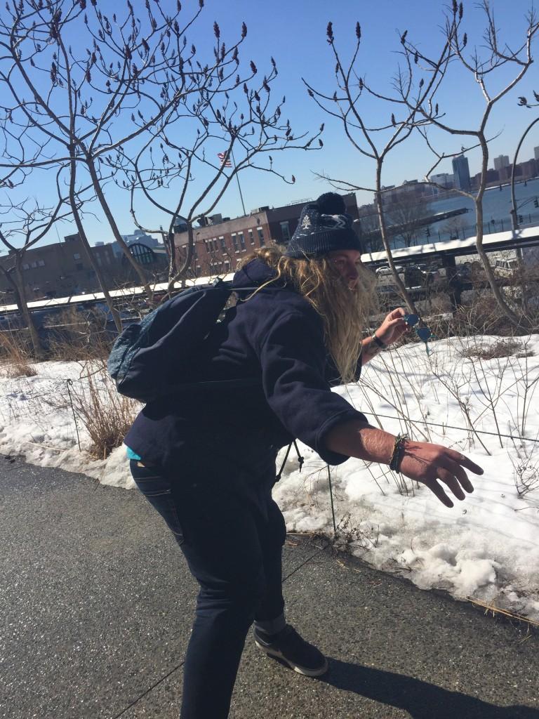 Australians in a snowball fight, High Line, New York City