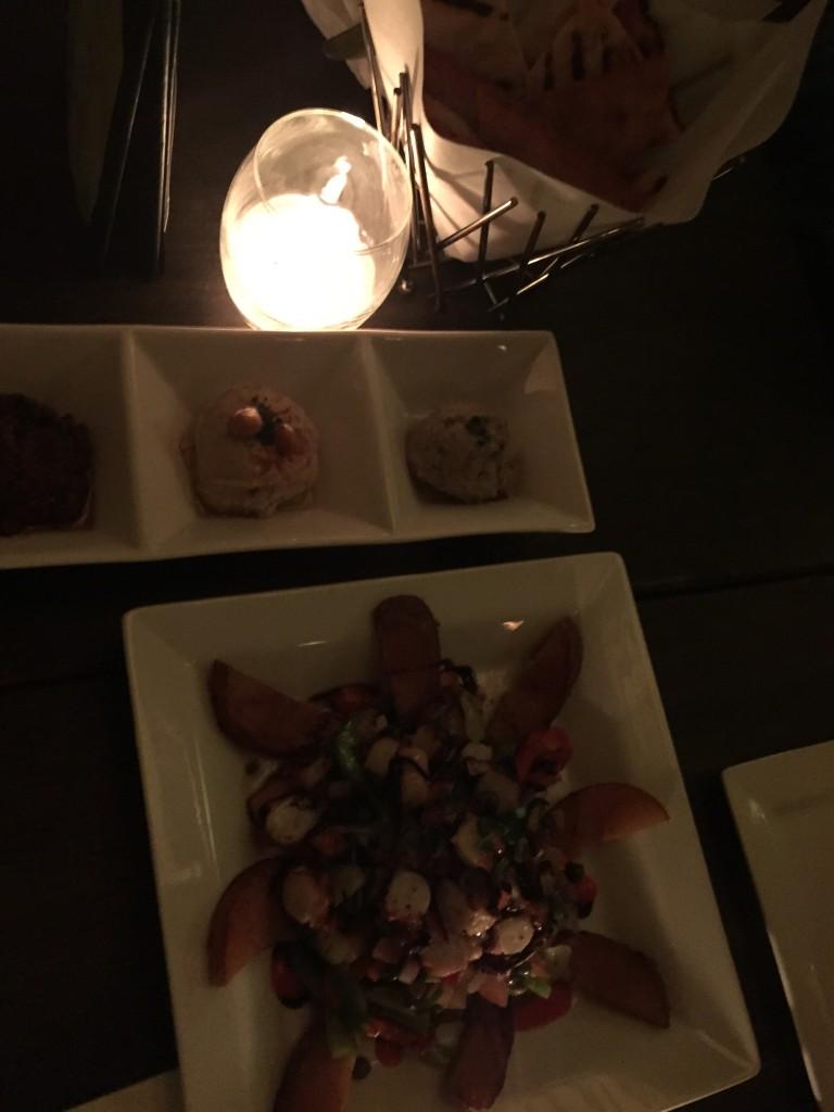 pita and dips plate at Pergola Restaurant, New York