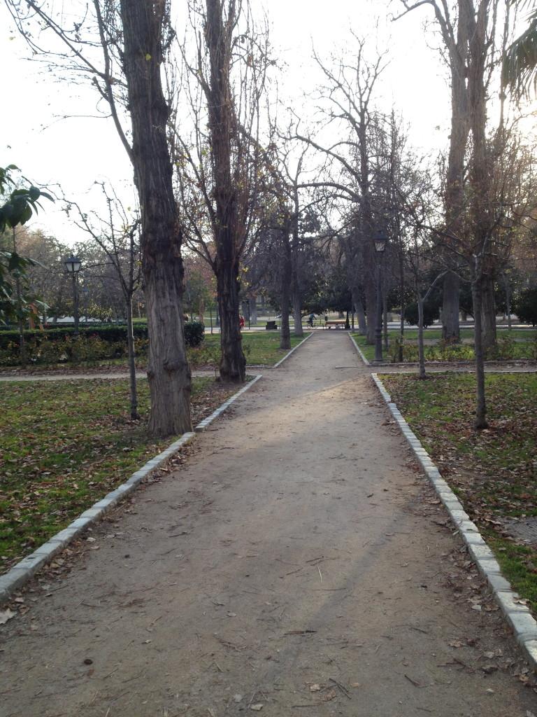 dirt path in el Parque del Buen Retiro, Madrid, Spain