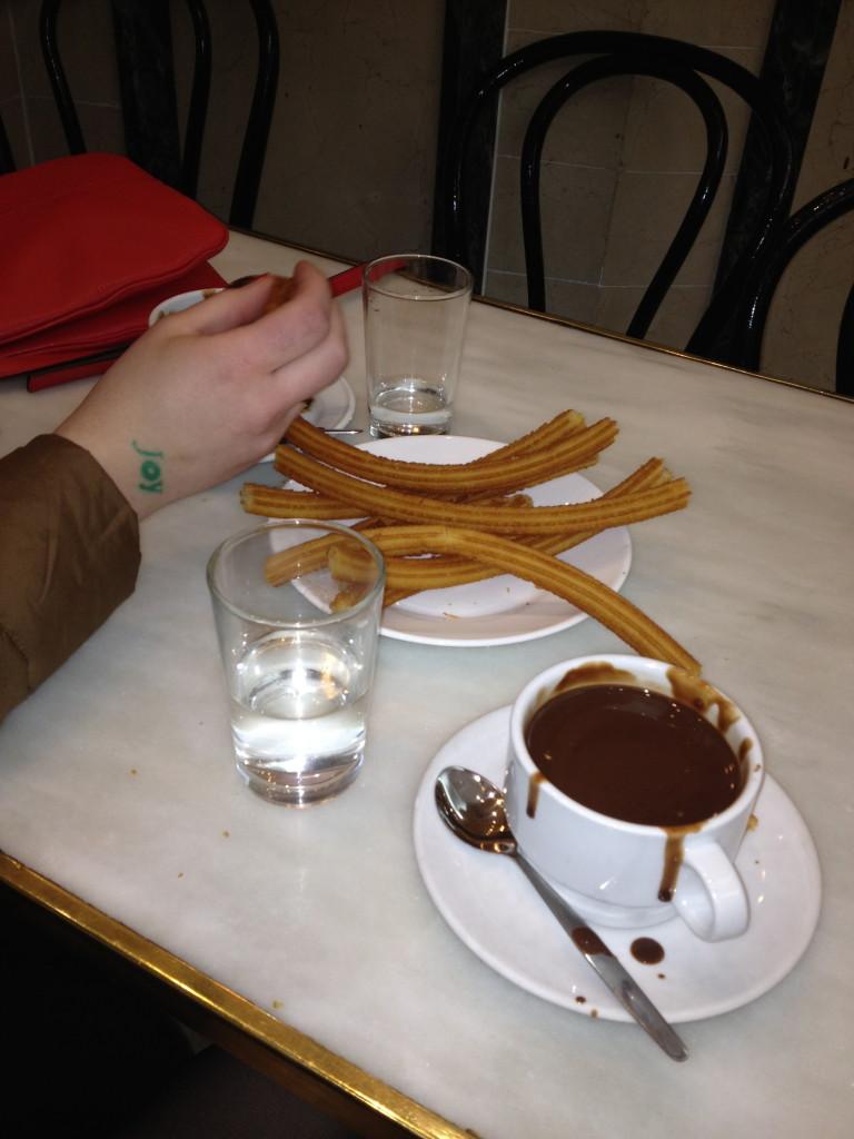 churros con chocolate, Chocolatería de San Gines, Madrid, Spain