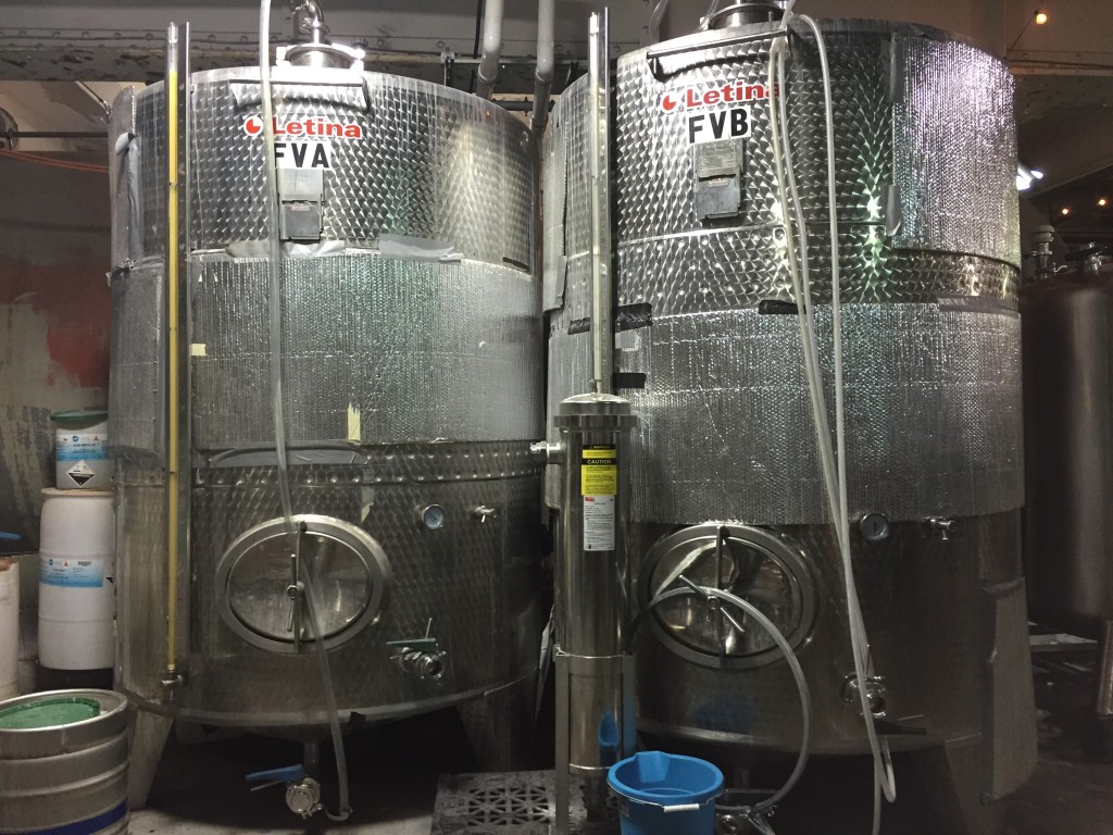 original fermenters from Maine warehouse at Downeast Cidery, Charlestown, MA