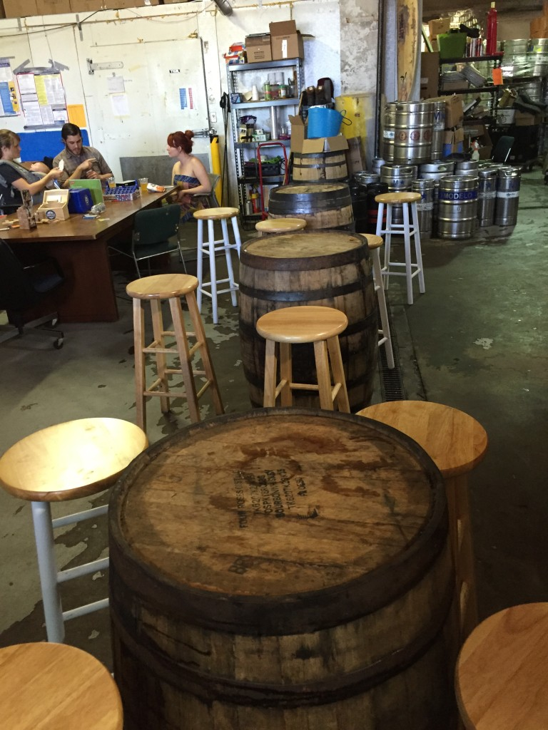 barrel tables at Downeast Cidery