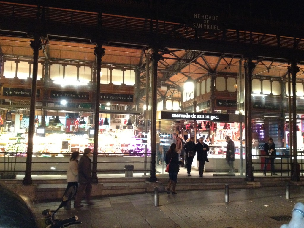 Glass facade of Mercado de San Miguel, a great, yet touristy, place for tapas
