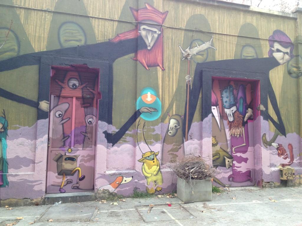 Trippy art on the walls of la Tabacalera, Madrid